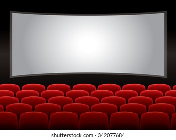 Theater interior with red chairs, vector 10