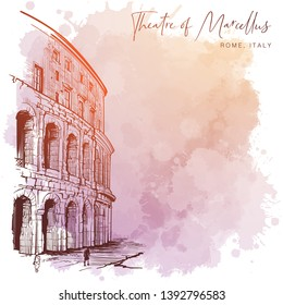 Theater of Marcellus in Rome, Italy. Monochrome linear drawing isolated on a textured grunge watercolor background. Vintage design. Blank template. EPS10 vector