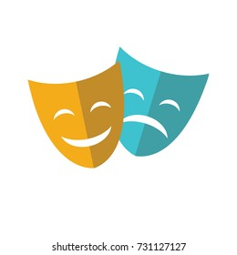 Theater mask flat icon isolated on a white background. Vector Illustration.