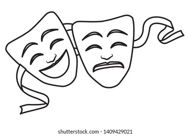theater mask icon cartoon black and white vector illustration graphic design