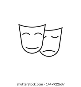 theater mask icon isolated vector illustration