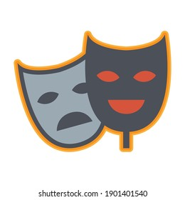 Theater mask icon or sign, abstract vector illustration