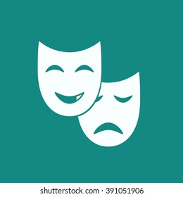 Theater mask icon or sign, vector illustration