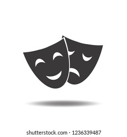 Theater mask icon vector emotions comedy and tragedy flat sign symbols logo illustration isolated on white background black color.Concepts for objects for Art and shows.