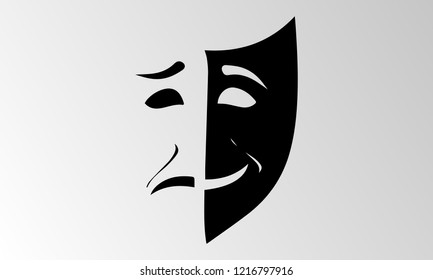 Theater mask isolated illustration character tragedy and comedy