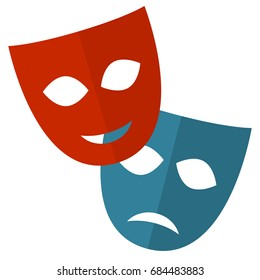 theater mask vector flat icon