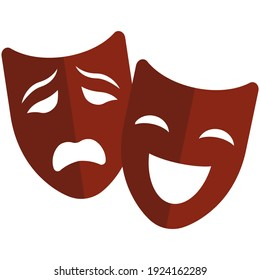 Theater mask vector icon. Comedy and drama symbol isolated on white background. Sad and happy smile face masque