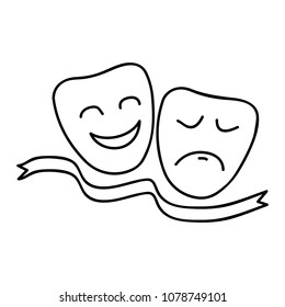 Theater masks of Comedy and Tragedy. Hand drawn icon, simple sketch. Isolated vector