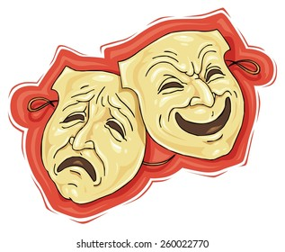 Theater Masks - Comedy and Tragedy - Vector Illustration Clip Art