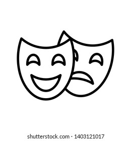 Theater masks icon vector on white background
