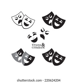 Theater masks icons in different graphic styles