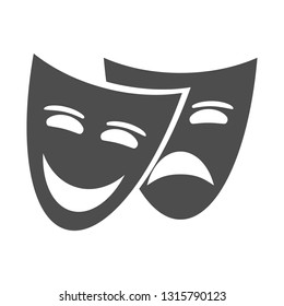 Theater masks isolated on white background. Theater logo, icon. Vector illustration for your design.