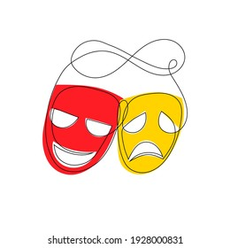 Theater masks isolated on white background. Continuous line art red and yellow laugh and sad theatre mask. Vector illustration