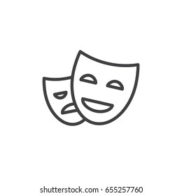 Theater masks line icon, outline vector sign, linear style pictogram isolated on white. Symbol, logo illustration. Editable stroke