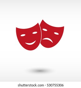 Theater masks - red vector  icon with shadow