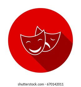Theater masks. Vector art. isolated on red background with long shadow. flat icon