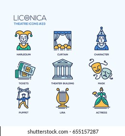 Theater- modern color vector single line design icons set Harlequin, curtain, character, ticket, building, tragedy, comedy mask, puppet, lira, actress