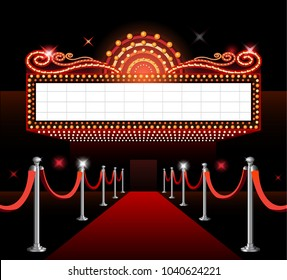 Theater movie sign red carpet premiere