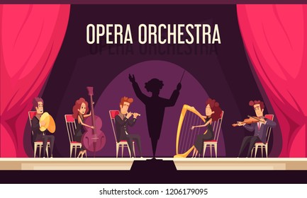 Theater opera orchestra onstage performance with violinist harpist fluitist musicians conductor red curtain flat composition vector illustration