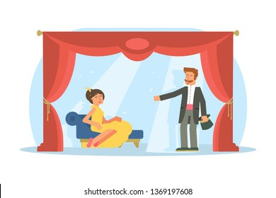 Amateur Children Theatre Performance ... | Stock vector ...  |Acting On Stage Cartoon