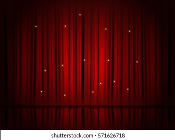 Theater Red Curtains. Vector Illustration.