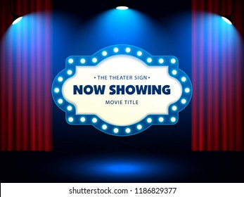 Theater Retro Sign on red curtain with spotlight. Vector Illustration