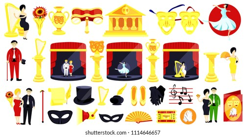 Theater set.Performance actors scenario decorations.Theater acting performance.Modern flat cartoons style vector illustration icons.Isolated on white.Theater set.Mask,harp,playbill,ticket,ballet,vase.