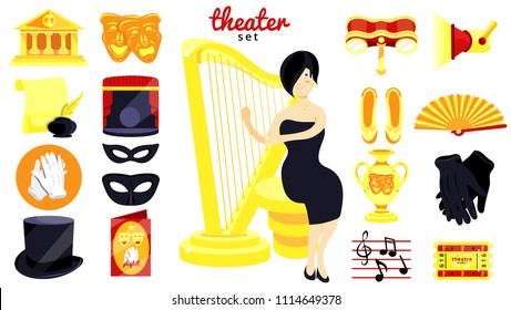 Theater set.Performance actors scenario decorations.Theater acting performance.Modern flat cartoons vector illustration icons.Isolated on white.Theater set.Fan,stage,opera glasses,mask,harp. Orchestra