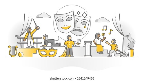Theater show art form with acting stage actors monocolor outline concept. Opera or drama theatre performance as part of classic live culture events vector illustration. Dramaturgy masks and costumes.