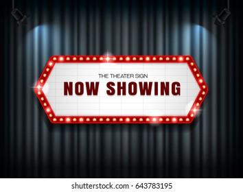theater sign on curtain with spotlight vector illustration