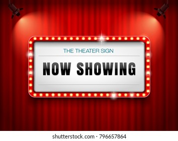 theater sign on curtain with spotlight