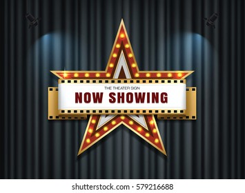 theater sign star shape on curtain mesh gradient vector object