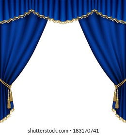 Theater stage  with blue curtain. Mesh.
