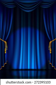 Theater stage with blue curtain and spotlight. Vector illustration.