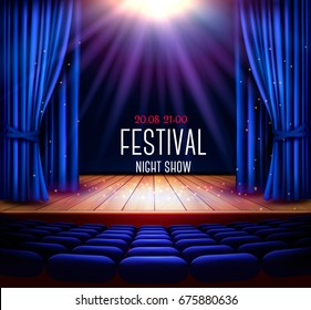 A theater stage with a blue curtain and a spotlight. Festival night show poster. Vector.