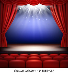 Theater stage. Festive background audience movie opera light with red silk curtains and auditorium seats vector realistic. Illustration of opera and theater, cinema auditorium