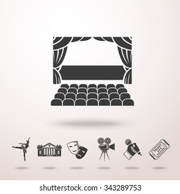 Theater stage icon with shadow, and set of theater icons - masks, theater, stage, cinema, ballet, ticket, hand with microphone. Vector