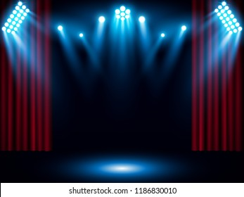 Theater stage on red curtain with spotlight. Vector background