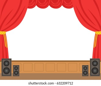 Theater stage with opened red curtain. Colorful cartoon character vector Illustration