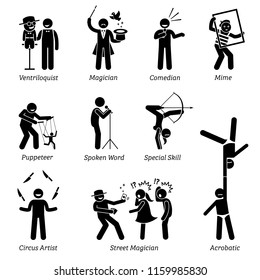Theater stage performers, entertainers, artists, and live acts. Pictograms depict ventriloquist, magician, comedian, mime, puppeteer, spoken word, circus, street magician, and acrobatic skills.