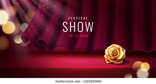 Theater stage and red curtain for festival banner template. Theatre background with flower for event or entertainment show. Circus or nightclub, bar poster with golden rose for performance. Showtime