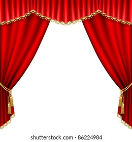Theater stage  with red curtain. Isolated on white.
