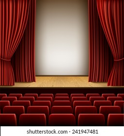 A theater stage with red curtain and red seats, EPS 10 contains transparency and mesh.
