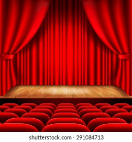 Theater stage with red curtain and seats photo realistic vector background