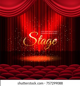 A theater stage with a red curtain and a spotlight with golden sparkles. Festival or show poster, invitation concert banner Vector stock illustration. EPS 10