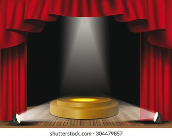 Theater stage with red curtain and spotlights.