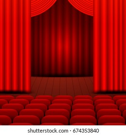 A theater stage with a red curtain. Vector Illustration.