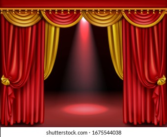 Theater stage with red and gold curtains and spotlight. Vector realistic illustration of opera or cinema decoration with luxury velvet drapes with golden tassels and scene with spot of light