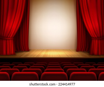 Theater stage with red velvet open retro style curtain background vector illustration