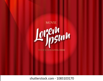 Theater stage template with red heavy curtain and golden text.